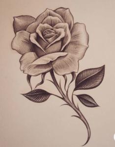 тату розы в ЧБ