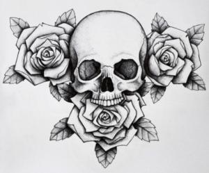 тату розы с черепом